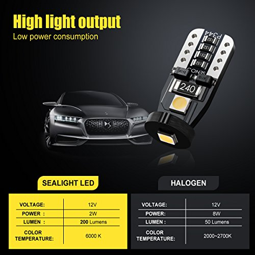 SEALIGHT 194 LED Bulb Interior Car Lights, 168 2825 W5W T10 Extremely Bright 3030 Chipset, Non-polarity, for License Plate Dome Map Door Courtesy Park Lights 12V 6000K Cool White (Pack of 10)
