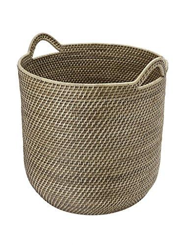 KOUBOO Laguna Round Rattan Storage Basket with Ear Handles, Honey-Brown