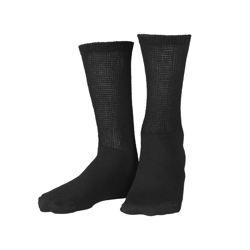 Truform Crew Length, Loose Fit Ultra Soft Diabetic Medical Socks (3 Pairs), Black, Large