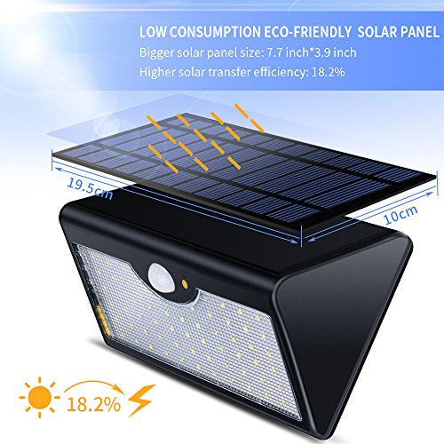Solar lights outdoor with remote control 1300lm 60 led import it all for Remote control exterior lights