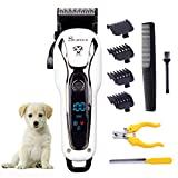 SURKER Dog grooming Dog Clippers Pet Clippers Pet Grooming Supplies Kit with Nail Clippers and Nail file for Cats and Dogs LED Screen Heavy Duty (White+Black)