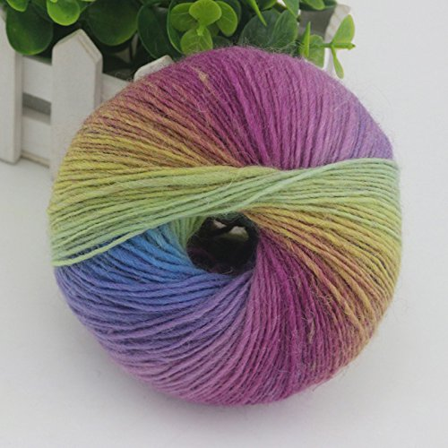 Kicode 1pc 51g Rainbow Wool Cotton Yarn Bamboo Protein Silk Fitness Knitting Manual Crochet Line Charcoal Baby Fabric For Sewing