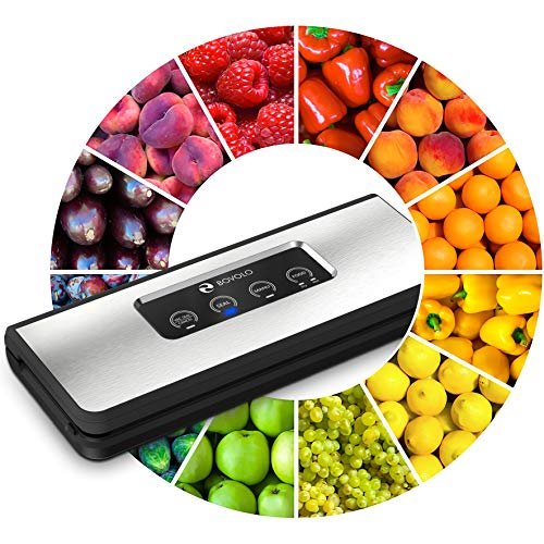 Vacuum Sealer Machine – Elegant Design – 37% More Powerful Food Vacuum Sealer Machine – Ultra Tight Sealing – Seal a Meal by BOVOLO – Sous Vide Packing System for Food Saver Bags – as Simple as ABC