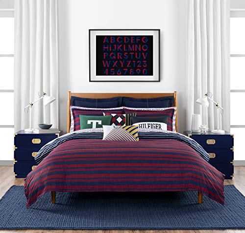 Tommy Hilfiger Heritage Stripe Bedding Collection Comforter Set, Full Queen, Navy/Red (Bedding Sets Tommy)