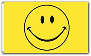 Shoe String King SSK Smiley Face Outdoor Flag - Large 3' x 5', Weather-Resistant Polyester
