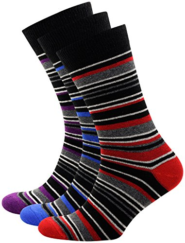 Striped Socks Men Cotton Crew Dress Socks Thin and Breathable 3 Pack (Red/Blue/Purple, 3)