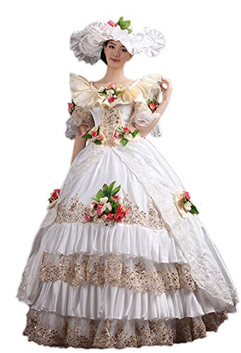 Funny Celebrity Costumes (Zukzi Women's Rococo Ball Gown Gothic Victorian Dress Costume with Flowers, US 12)