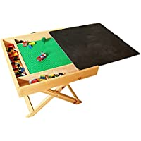 Hot wing Wooden LEGO-Compatible Multi-Activity Table,Portable Folding Square Play Table With Chalkboard & Storage,For Kids & Children