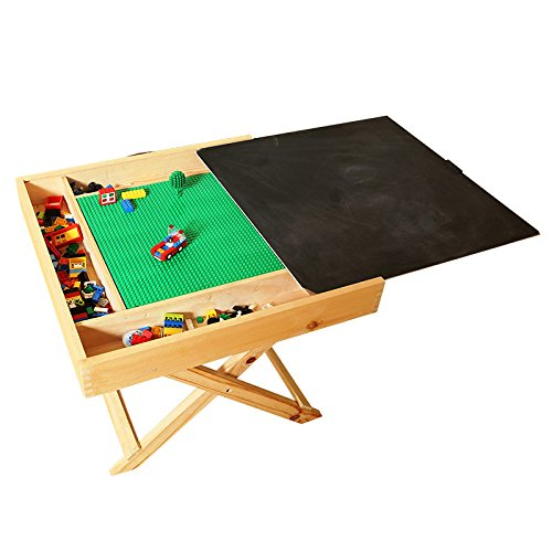 Wooden LEGO Compatible Play Table for LEGO, Yenny shop, Kids 2-in-1 Activity Table with Storage and Chalkboard - Double-Sided Play Board Design with Travel Carry Handle for Kids & - For Table Kids Lego Older