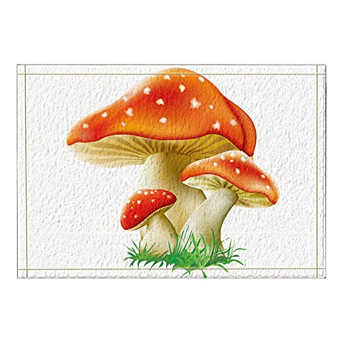 NYMB Cartoon Mushrooms for Kids Bath Rugs, Non-Slip Rectangle Floor Entryways Outdoor Indoor Front Door Mat,16X24 Inches Bath Mat