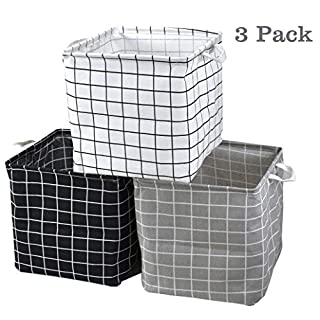 Storage Basket Bins, 3 Pack 12.6 x 12.6 x 12.6 inch Foldable Cloth Cube Organizer with Carry Handles for Linens, Towels, Toys, Drawers, Home Closet, Shelf, Nursery, Cabinet