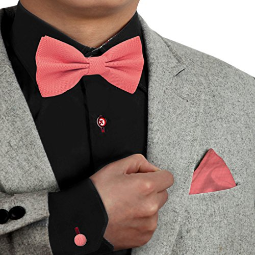 Dan Smith Mens Fashion Multicolored Microfiber Pre-Tied Bow Tie Set With Free Gift Box