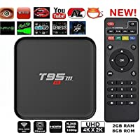 Aikenuo T95M 4k 2GB 8GB Smart TV Box Android 6.0 Quad Core Amlogic S905x Network Set Top Boxs Full Loaded Streaming Media 3D Movie Game Player Bluetooth 4.0 Pre-installed Google Play Store