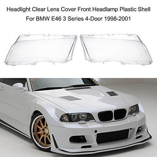Alina-Shops - Car Accessories Headlight Clear Lens Cover Front Headlamp Plastic Shell For BMW E46 3 Series 4-Door ()
