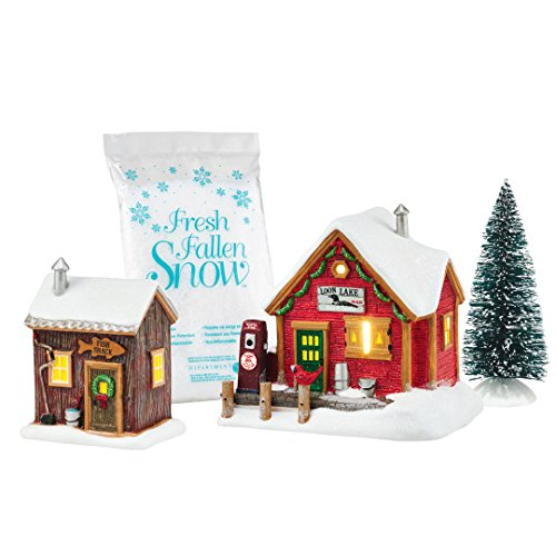 Department 56 by Enesco Holiday In The Woods Lakeside Service Gift' Set (Fresh Snow Village Fallen)