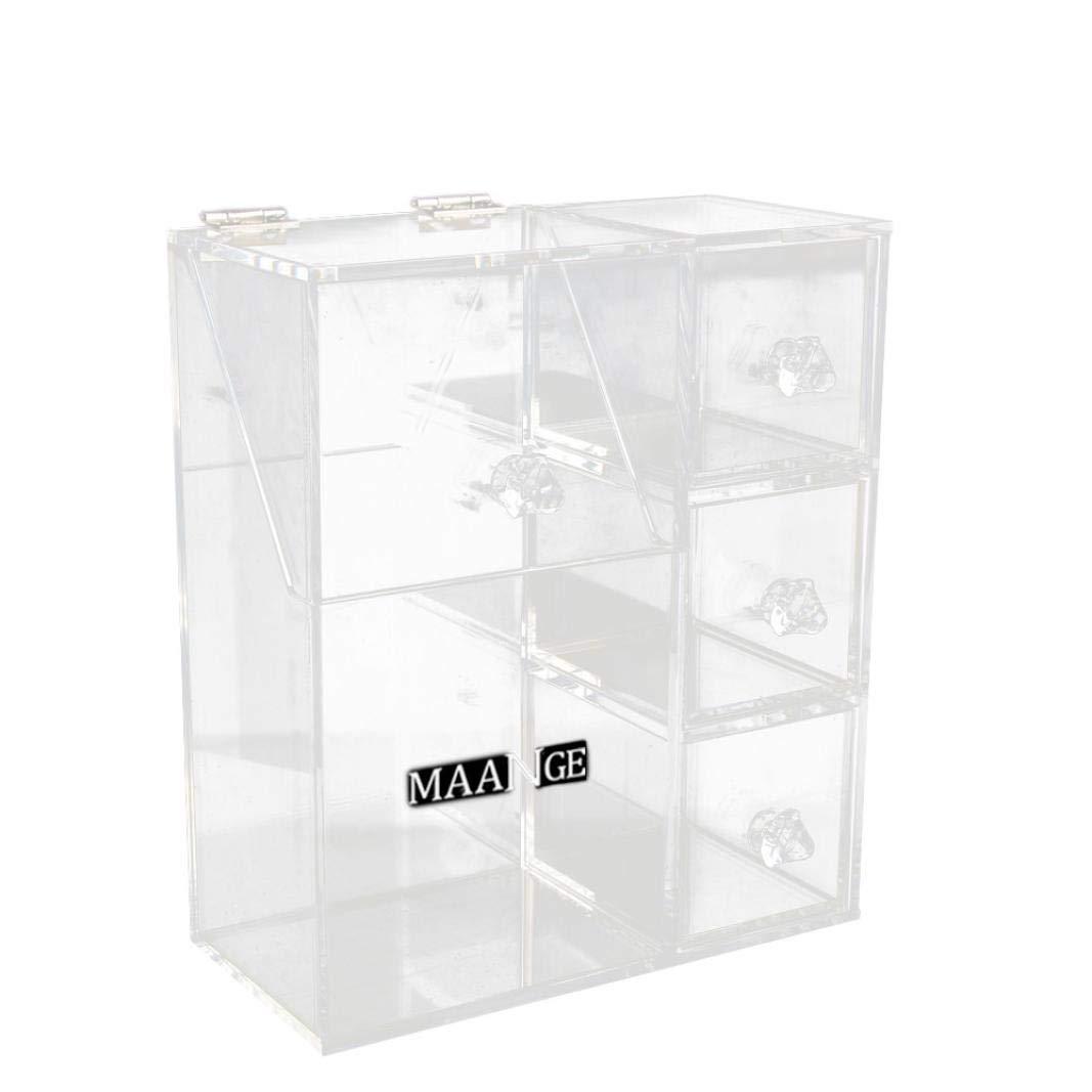 Premium Acrylic Makeup Jewelry Organizer Clear 21cm x 9cm x 19cm Cosmetic Storage Thick and Crystal Acrylic Brush Box Storage (clear)
