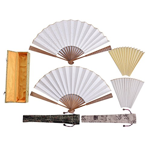 (ZS001 Hmay DIY Blank Fan Set/Chinese Xuan Paper Fan Set/Blank Fans for Sumi-e Ink Painting & Gongbi Painting (1))