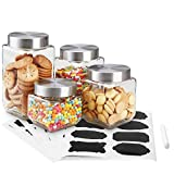 Home Basics 4-Piece Square Glass Canister Set with 56 Reusable Chalkboard Labels (Square Canisters with Chalkboard Stickers)