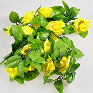 Home decor new artificial fake silk rose flower ivy vine for Decorate with flowers amazon