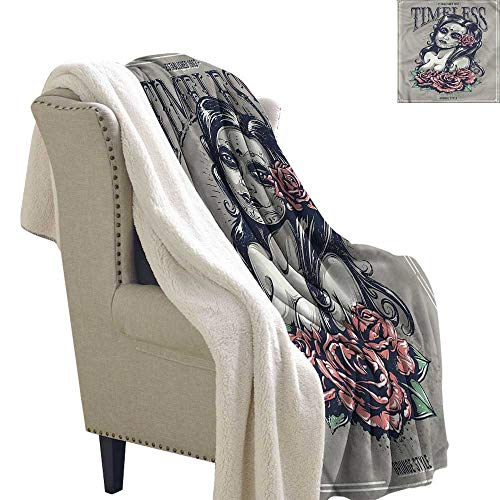 Williasm Skull Cozy Flannel Blanket Day of The Dead Girl Tattoos 60x47 Inch