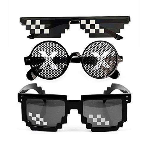 Minecraft Halloween Costume Toys R Us (Thug Life Sunglasses & Identity V, Men Women Glass 8 Bit Pixel Mosaic Identity V Glasses Photo Props Unisex Sunglass Toy by Akally)