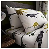 Lions Easy Care Poly Cotton Fitted Bed Sheet Bedding Set Made For Kids (Rotary-Dinosaur, Single)