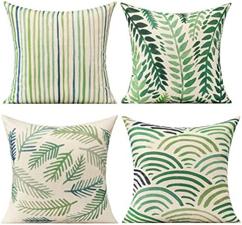 All Smiles Light Green Leaves Throw Pillow Cover Green Decorative Cushion
