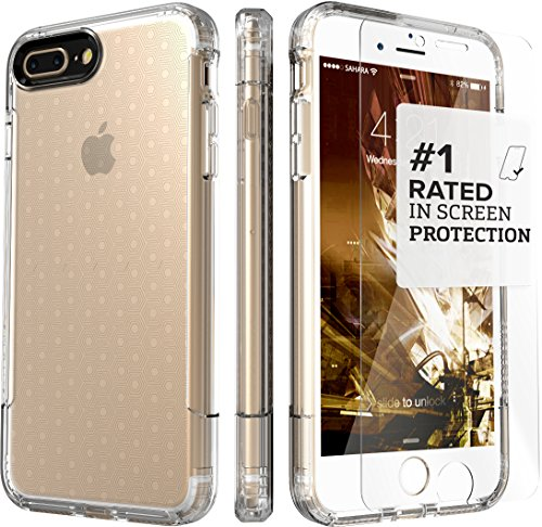 iPhone 8 Plus and 7 Plus Case, SaharaCase Inspire Protective Kit Bundled with [ZeroDamage Tempered Glass Screen Protector] Rugged Slim Fit Shockproof Bumper [Hard PC Back] Protection - Clear ()