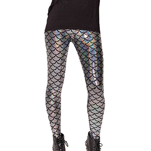Hibote Leggings Fish Mermaid Ml Scale Donna Stretch Soft 2010 Hologram Shine Sexy 676qxT4