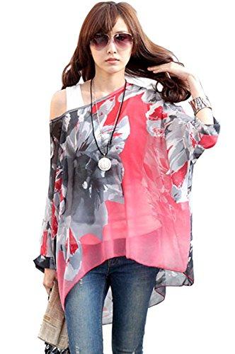Plus Boho Manica Size Batwing Doman per Donne Tunica Chiffon T Shirt OKSakady 3 4 19 fdwgqf4