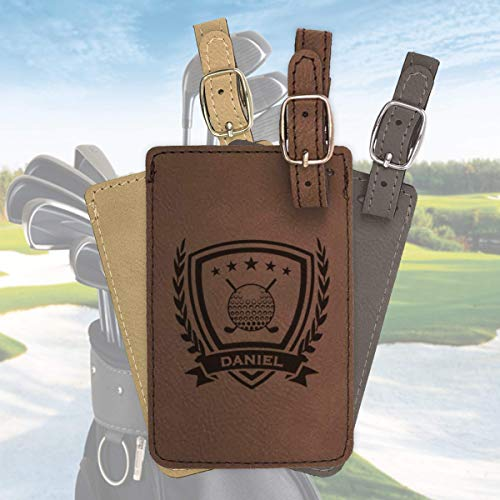 Personalized Golf bag tag, engraved golf luggage tag, leather luggage tag/Laser engraved with 3 color options