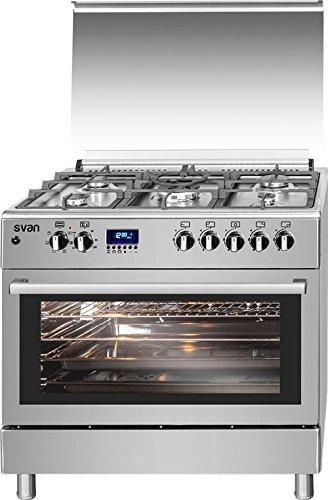 Cocina 5 fuegos PRO 90x60 cm INOX, horno eléctrico multifunción ...