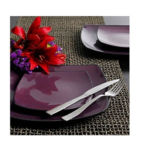 16 Piece Dinnerware Set By Gibson Home. This Soho Lounge Square Dinnerware Set Is an Excellent Choice for Modern Family. It's Simple, Yet Elegant, Just Like Restaurant Dinnerware. (Purple) (16 Dinnerware Piece Black)