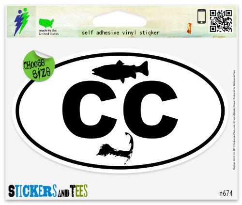 (Cape Cod Striper Map Oval Vinyl Car Bumper Window Sticker 3