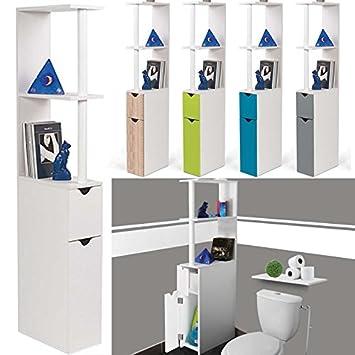 idmarket meuble wc tagre bois gain de place pour toilette 2 portes blanches