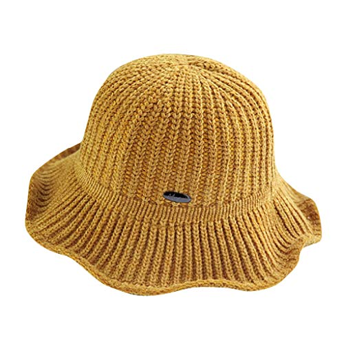 Crytech Women Plain Chenille Thermal Woolen Knitted Crochet Foldable Bucket Sun Hat Cute Flower Shaped Winter Warm Outdoor Fisherman Beanie Visor with Wide Brim for Teens Girls (Yellow)