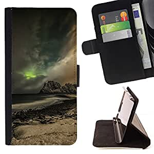 Momo Phone Case / Flip Funda de Cuero Case Cover - Glow Montaña;;;;;;;; - Samsung Galaxy E5 E500