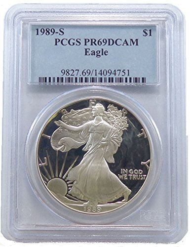 1989 S Proof American Silver Eagle Dollar PCGS PR-69
