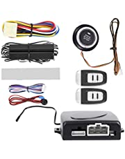 Acouto Car Keyless Entry Push to Start Alarm System Kit 12V One-Way Remote Start Push Button Keyless Entry System Kit Car Alarm System Engine Kit Remote Start for Cars