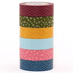 mt Washi Masking Tape Wamon Japan deco tape set 6pcs with patterns