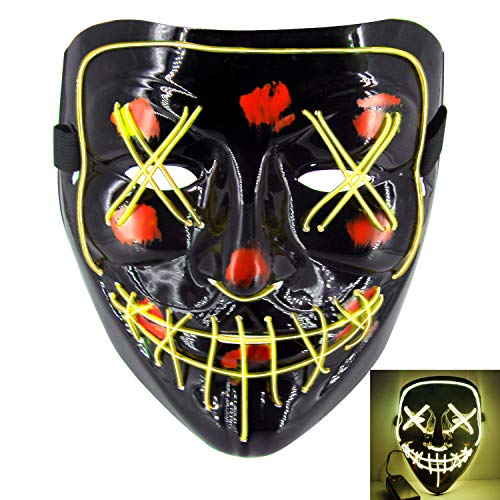 heytech LED Mask Halloween Scary Mask Cosplay Led Costume Mask EL Wire Light up for Halloween Festival Party Yellow]()