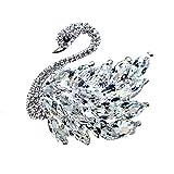 Ccassie Women's Luxury 3D Elegant Bling zircon crystal Swan Bird Bridal Brooch Pin For Bouquet Collar Wedding(Sliver)
