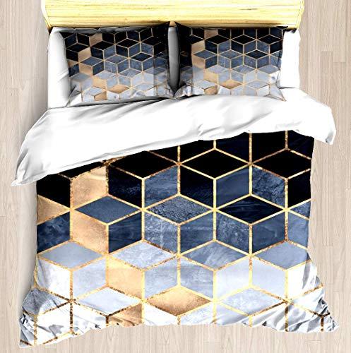 Comforter Set Cube (ZOMOY Soft Blue Gradient Cubes Duvet Cover Set Unique Printed Exclusive Designed Pattern Comforter Bedding Cover Pillow Shams 3 Piece Bed Duvet Cover Twin/XL)