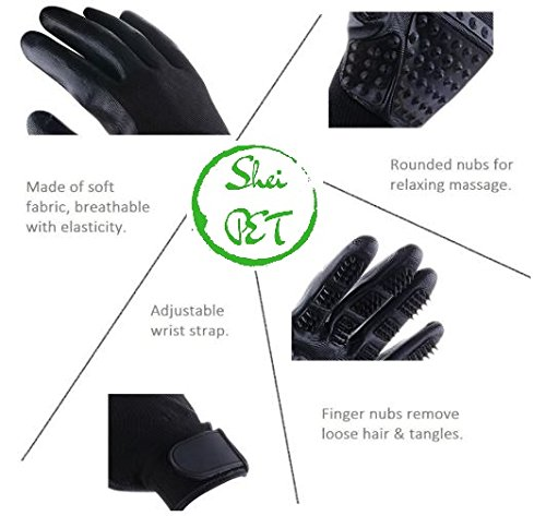 SheiPet Grooming gloves - Perfect hair remover for cat, dog, horses and any pet with long, short or curly hair - soft brush and massage glove by SheiPet (Image #2)