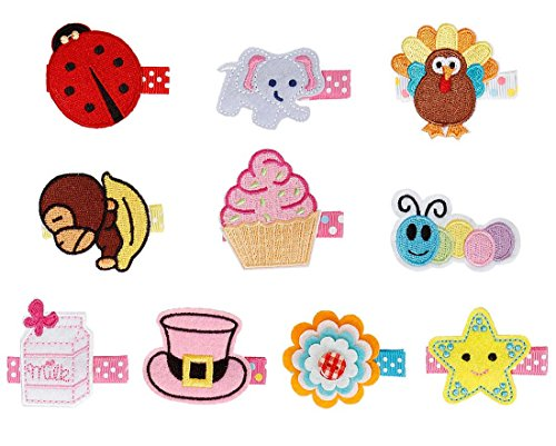 Bundle Monster 10 pc Baby Girls Multicolor Embroidered Design Soft Fabric Hair Clip Accessories - Set 2: Adorable (Cupcake Clip)