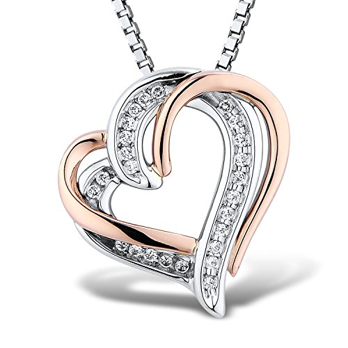 Diamond Small Heart Necklace - Diamond Heart Necklace 1/10 cttw in Sterling Silver and 10k Rose Gold