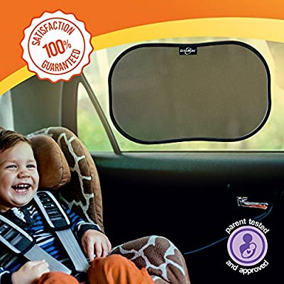 DriveMate Car Sun Shade Side and Rear Window Protectors | Keep Kids and Pets Cooler | Flexible, Heat, Glare, and Light-Blocking Sunshades | Quick and Easy Install