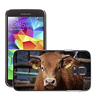 GoGoMobile Slim Protector Hard Shell Cover Case // M00117580 Cow Beast Animal Village Cows // Samsung Galaxy S5 S V SV i9600 (Not Fits S5 ACTIVE)