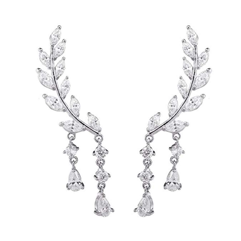 Julyflower CZ Crystal Vine Jewelry Sweep Wrap Silver Plated Leaf Ear Cuffs Set Stud Earrings for Women Ear Cuffs Climber Earrings and Ear Wrap Pins 1pair(Silver) by Julyflower
