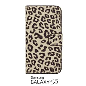 OnlineBestDigital - Leopard Pattern Painting PU Leather Wallet Case for Samsung Galaxy S5 - Black with 3 Screen Protectors and Stylus
